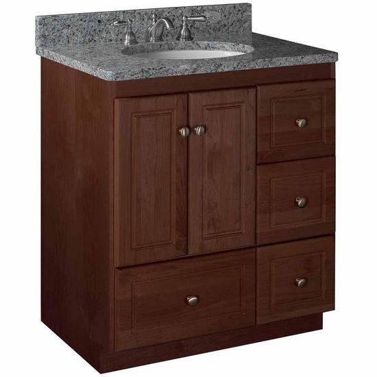 "30 Bathroom Vanity Drawers strasser woodenworks 30""w simplicity vanity with right drawers"