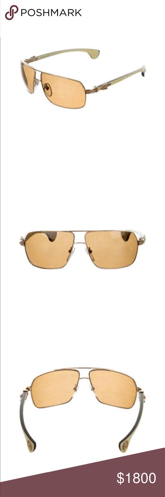 f40324a9a2a  Chrome Hearts Moorehead  Aviator Sunglasses Looks 🆕   No apparent  scratches Chrome