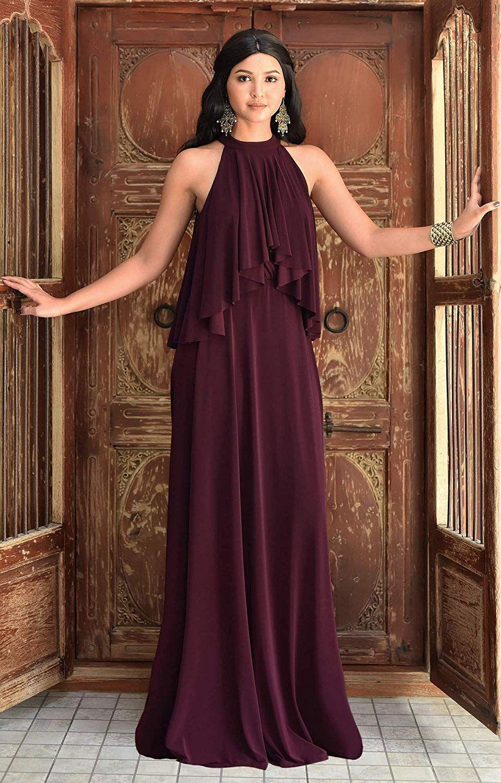 87e3f9c3075 KOH KOH Womens Long Sleeveless Halter Layered Flowy Cocktail Summer Maxi  Dress at Amazon Women s Clothing store