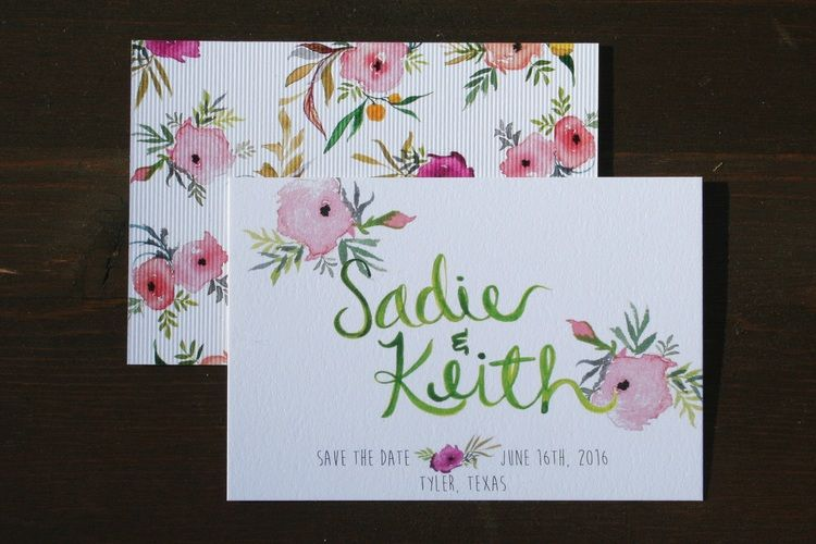 Save the Date. Watercolor save the date. pink and green. handmade wedding invitation. Watercolor wedding invitation..JPG