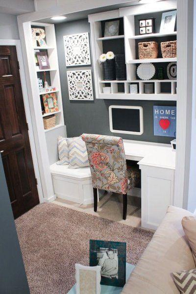 Elegant Corner Desk And Sitting Area, Dark Gray Closet Changed Into An Office