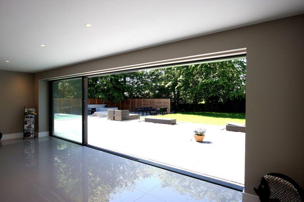 Slim frame aluminium bi fold doors with two large fixed for Bi fold sliding glass doors