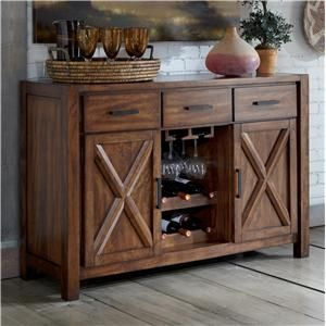 Signature Design By Ashley Waurika Dining Room Server With Wine Rack   A1  Furniture U0026 Bedding