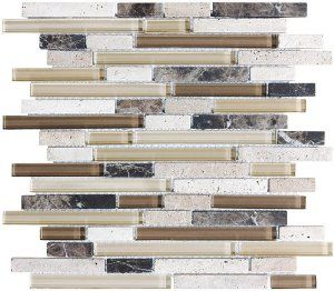 "4"" x 6"" sample - bliss cappucino stone and glass linear mosaic"