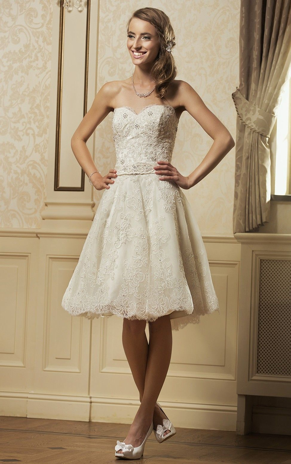 Courthouse wedding dress plus size  Natural Waist Aline Laceup Short Wedding Dresses  Lace Wedding