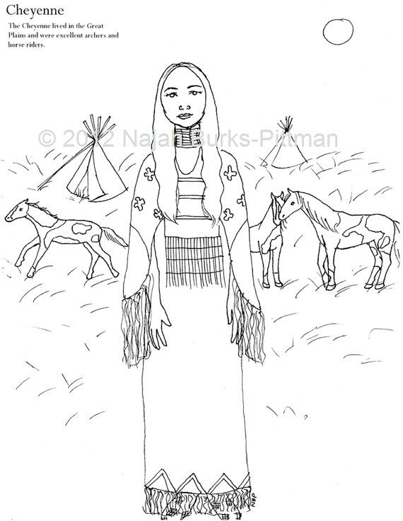 Cheyenne Dressing Up Through History Coloring Page Coloring Pages Coloring Books Embroidery Patterns