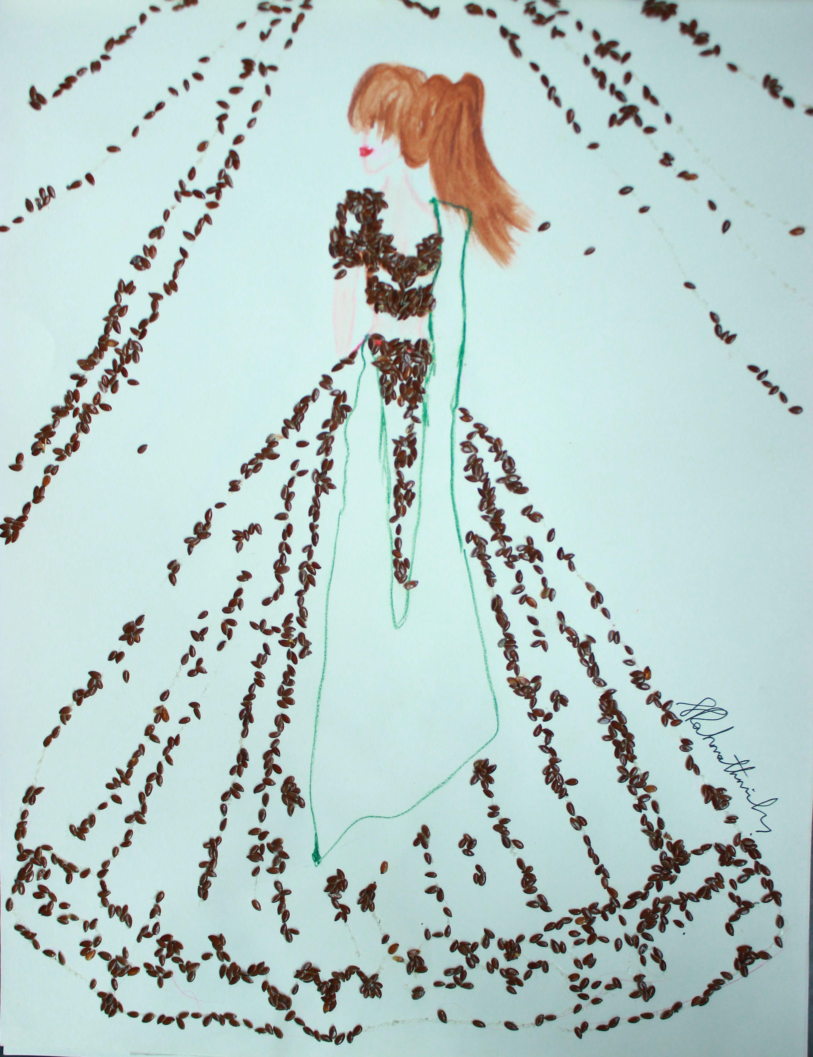 3D fashion illustration sketch using olive seeds | 3D fashion ...
