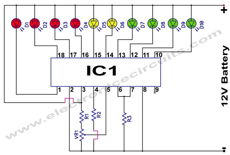 Lm3914 12v Battery Monitor Circuit Electronics Circuit Battery Charger Circuit Battery