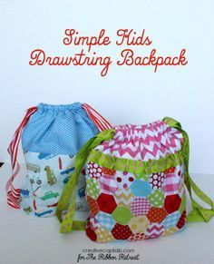Adorable, Simple Drawstring Backpacks for kids tutorial | truc et ...