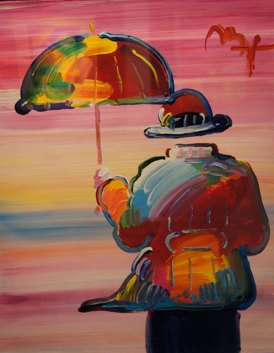 Peter Max Peter Max Acrylique sur papier sur Umbrella Man