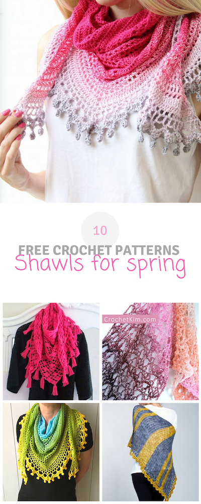Here you can find a roundup of 10 #crochet #shawls for #spring. They ...