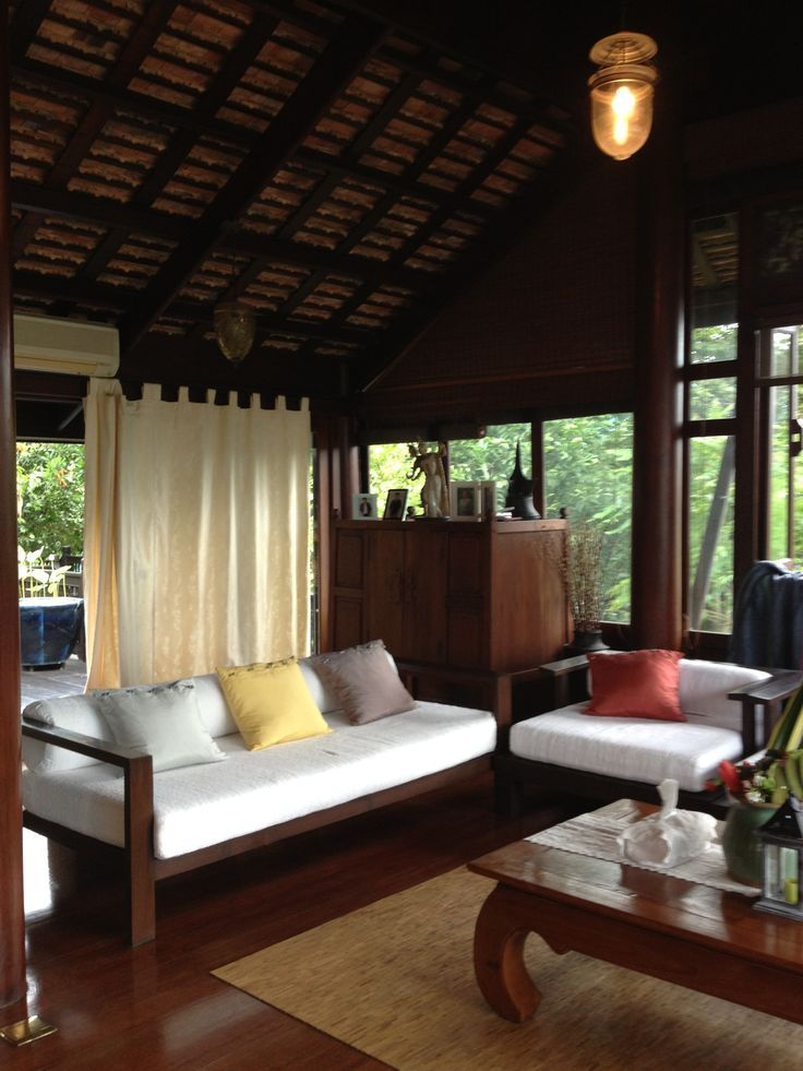 Thai style living room The white cushions make it bright, the curtains add  softness to. Spa InteriorAsian Interior DesignAsian ...