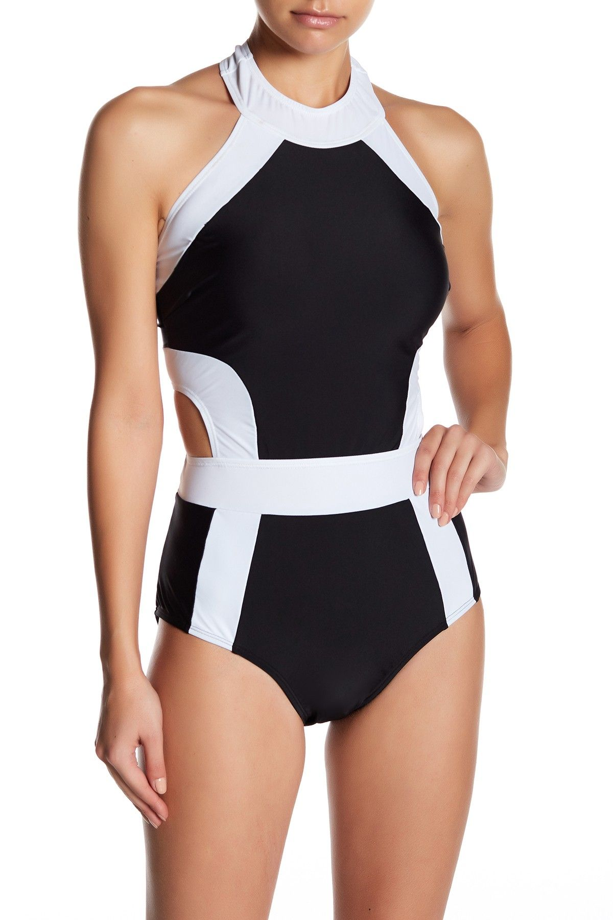 Marilyn Monroe Swim Marilyn Monore Contrast Cutout One Piece Swisuit One Piece High Neck One Piece One Piece Swimsuit