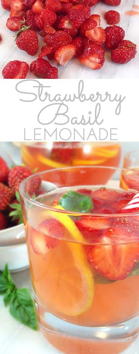Strawberry Basil Lemonade #basillemonade