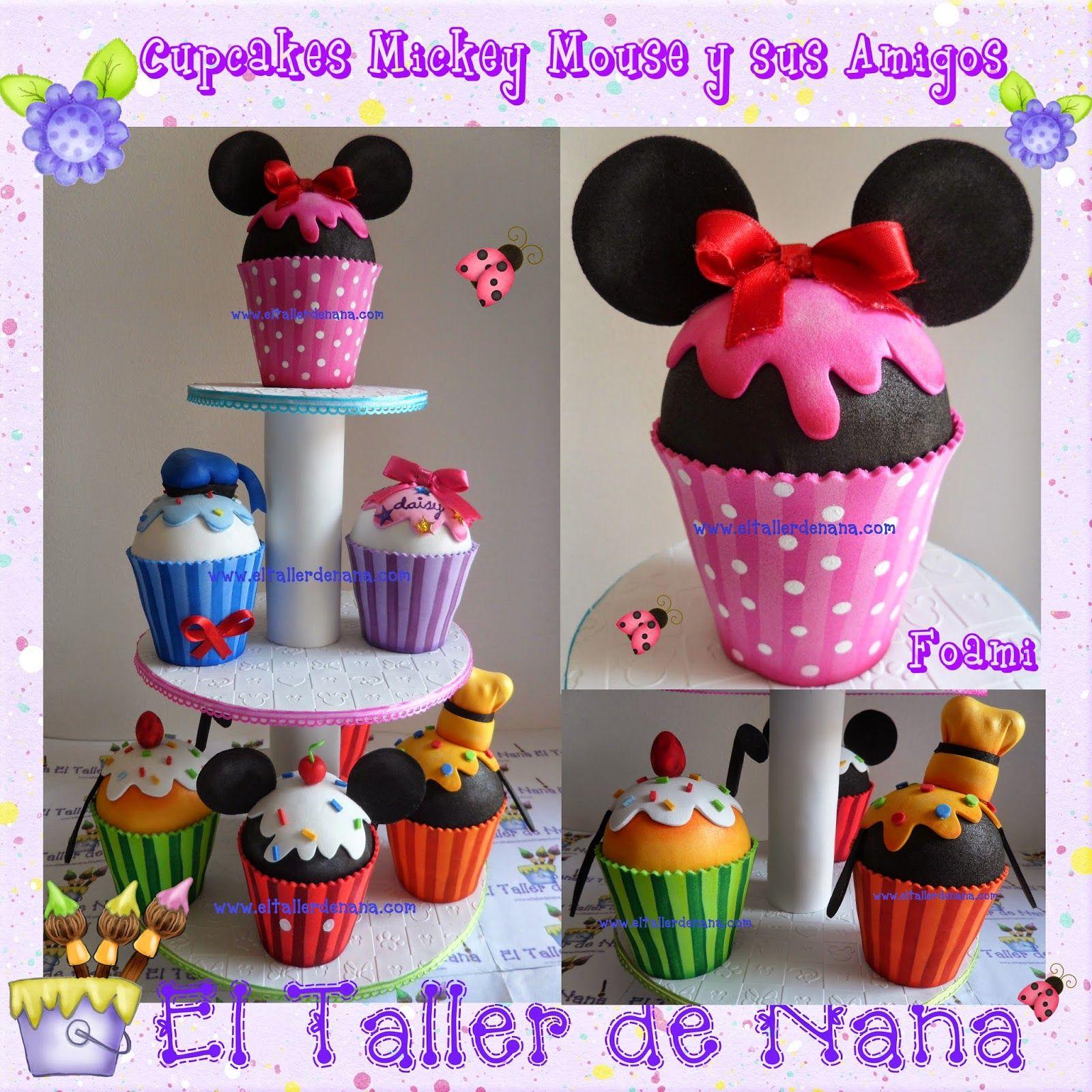 Cupcakes de mickey mouse y sus amigos minnie pato donald - Manualidades minnie mouse ...