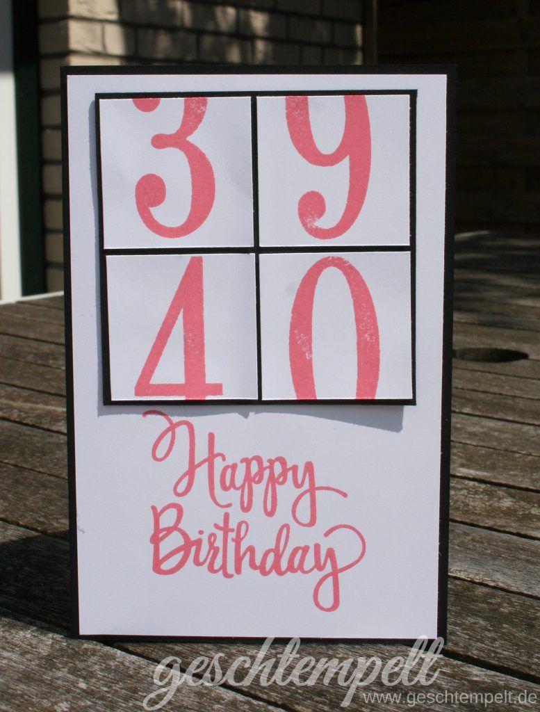 Eine Karte Zum 40 Basteln Pinterest Einladungskarten 40