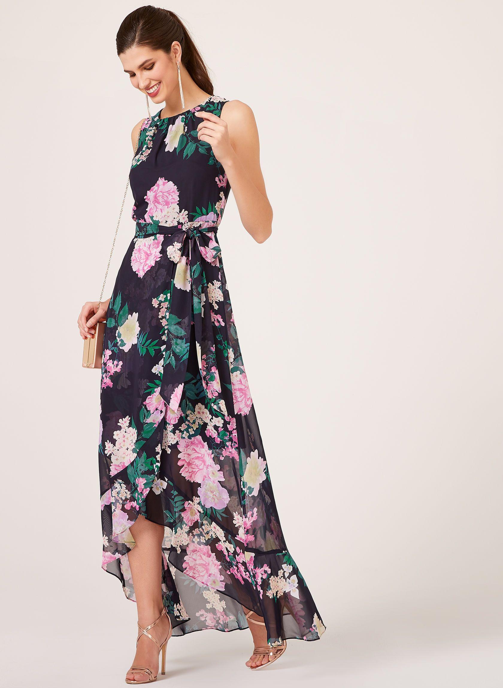 Floral print wedding dresses  Floral Print HighLow Dress Blue hires  Wedding Dresses for