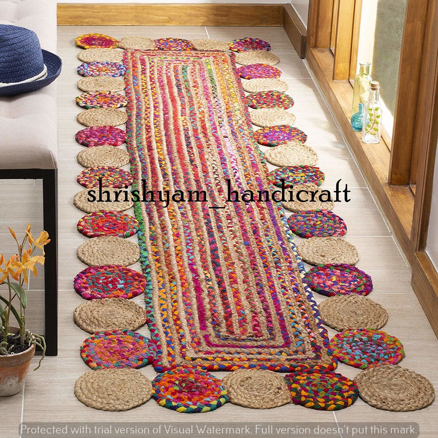 Bohemian Handmade Jute Cotton Mix Rug Braided Rag Rug Multi Colour Area Rug 3x4 Feet Rectangle Shape Home Living Carpet Indian Rag Rug In 2020 Braided Rag Rugs Cool Rugs