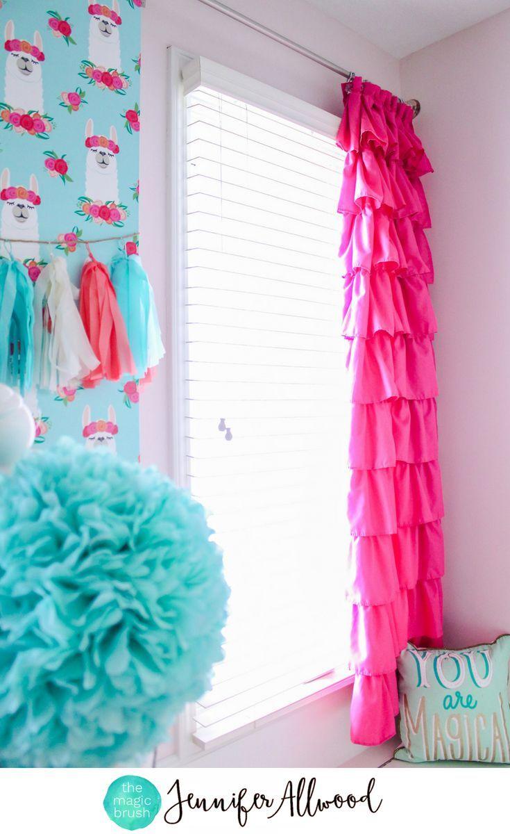 Pink Ruffle Curtains + Llama Wallpaper in a Girl's Room by Jennifer Allwood | Girls Curtain Ideas | Ruffle Pink Curtain | Girls Window Treatments | Llama Decor | Girls Bedroom Decorating Ideas | Kids Bedroom | Tween Bedroom || #curtains #girlsroom #diy #diyhomedecor #homedecor #decorating #kidsroom