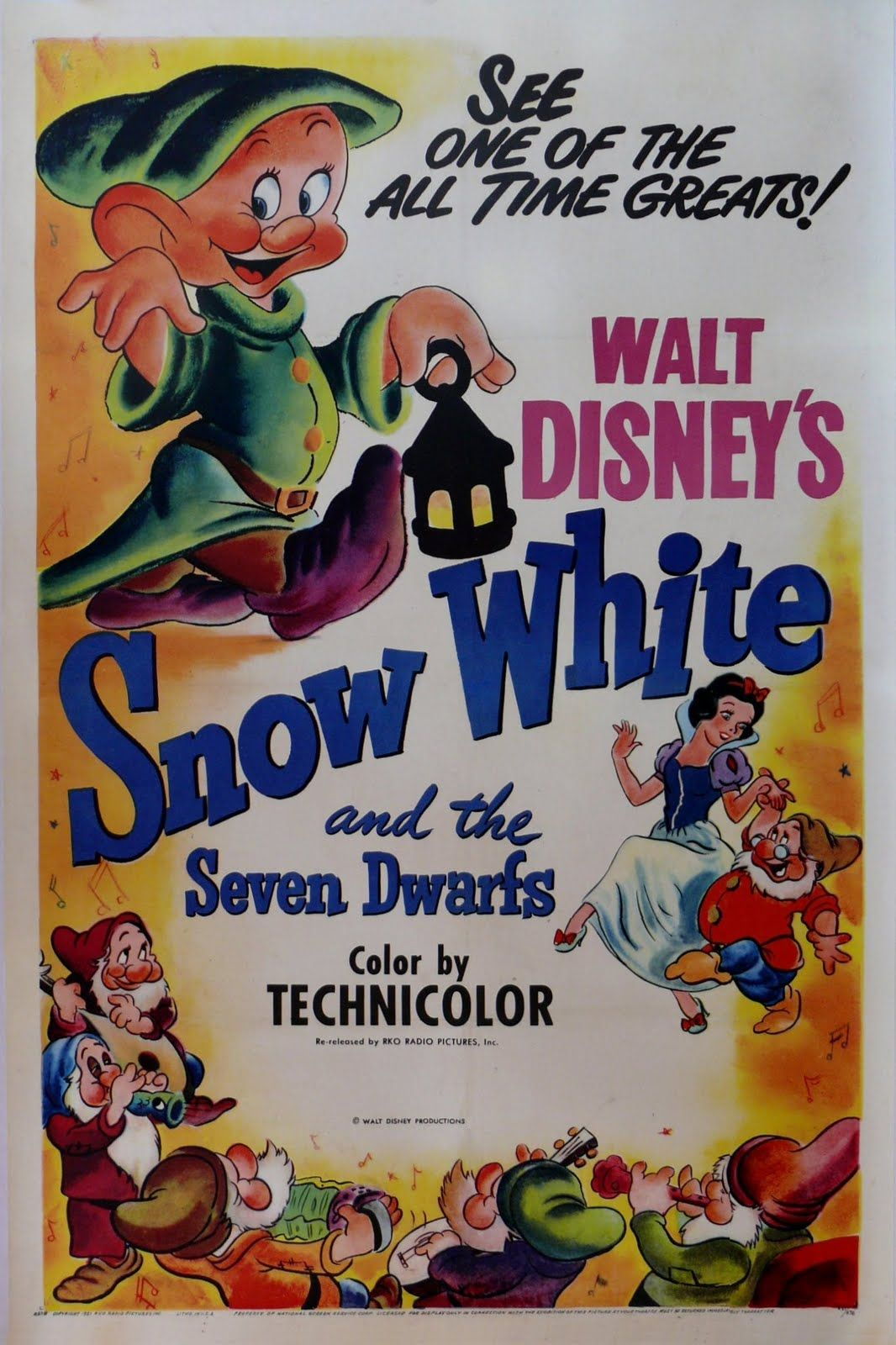 Snow White and the Seven Dwarfs - disney movie poster ...