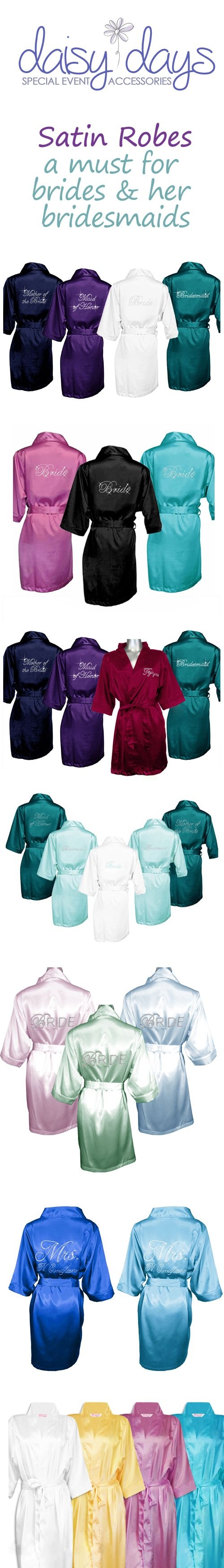 Wedding party satin robes are the perfect gift for the bride and her bridesmaids. Wear them as you get ready for the wedding and every day after! So many colors and styles!