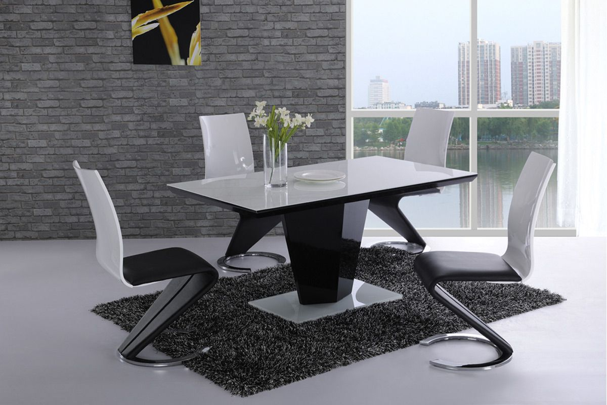 Black Gloss Dining Table 4 Chairs