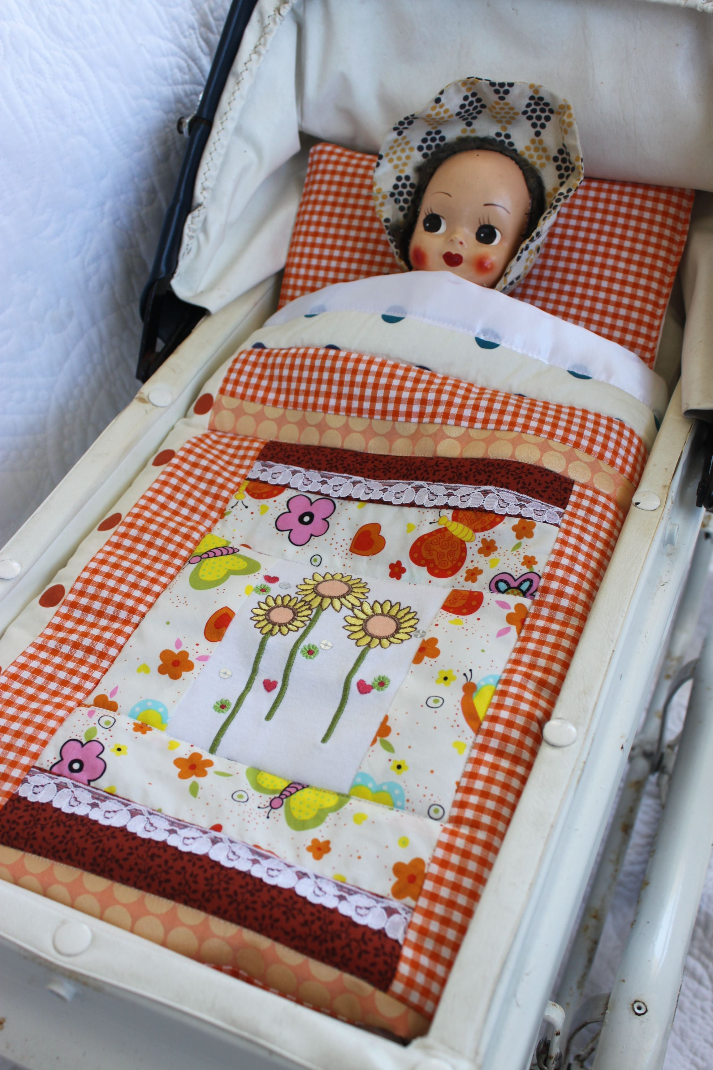 Dolls Bedding Dolls Quilt, Sheet and Pillow Set White sheet with ... : doll quilt size - Adamdwight.com