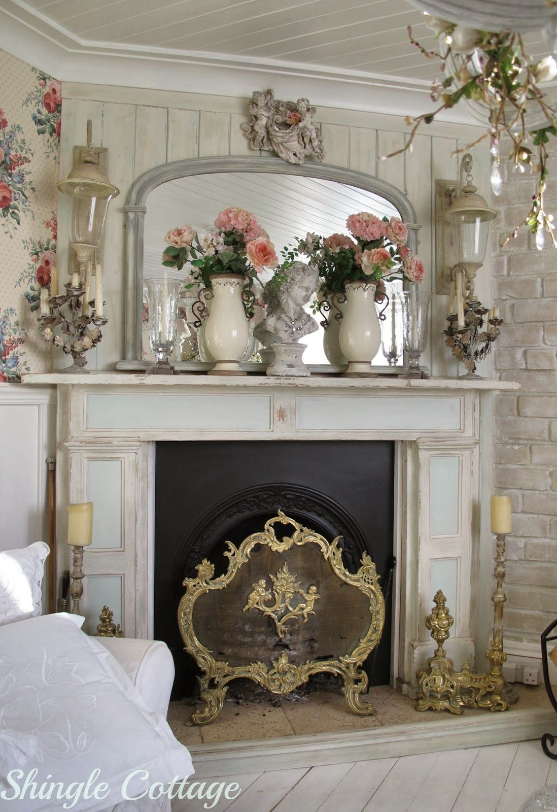 Fireplace Shabby Chic Fireplace Cottage Chic Decor Shabby Chic Bedrooms