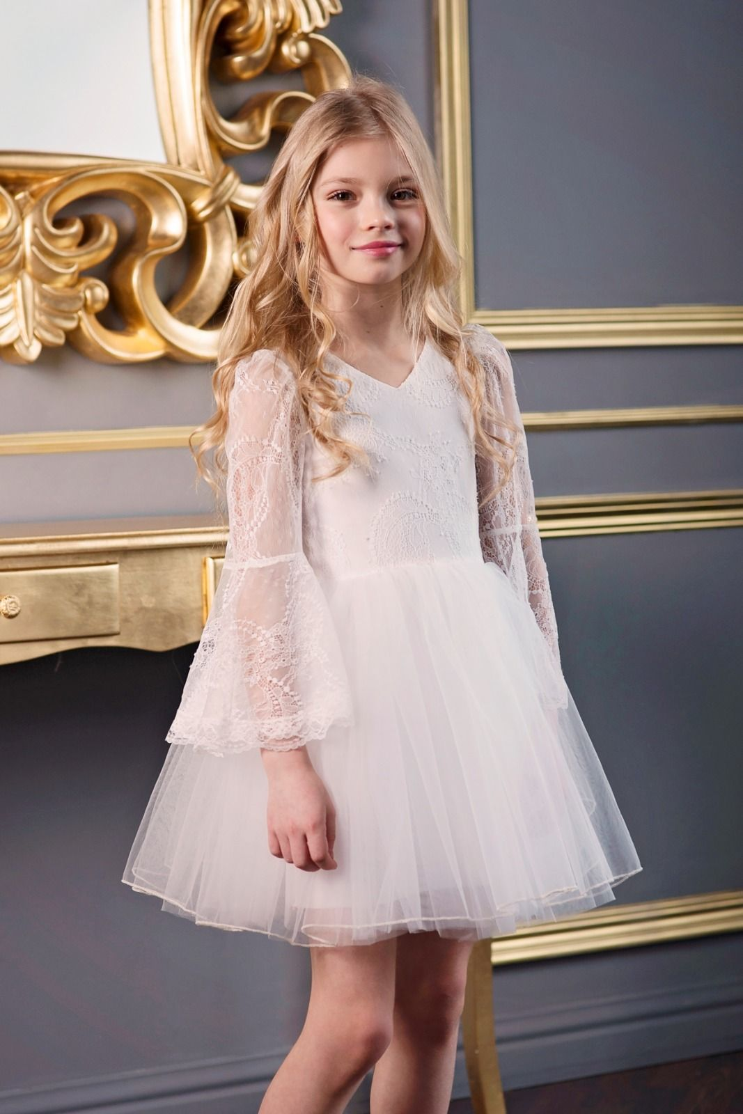 First communion dress flower girl offwhite lace tulle