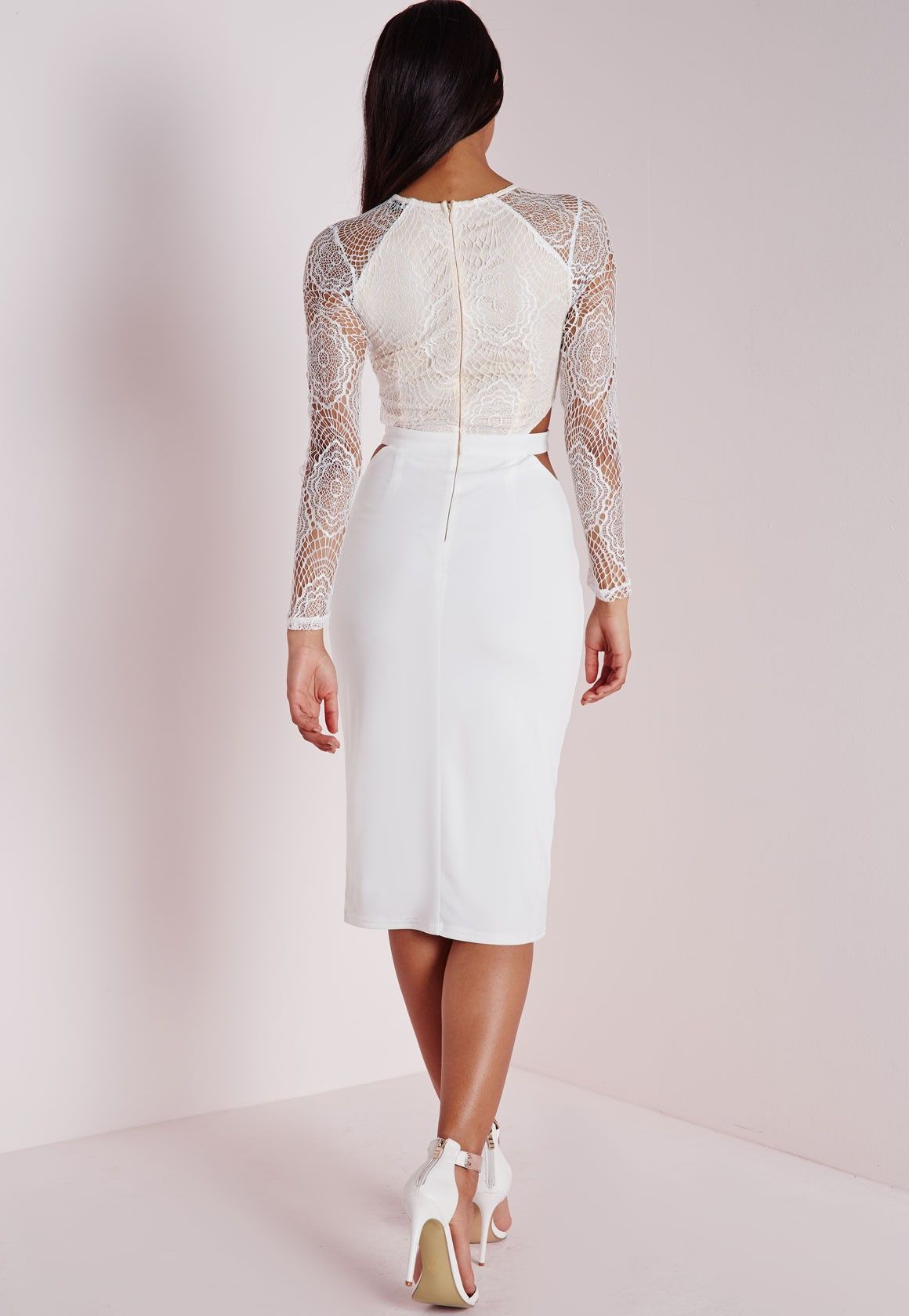 Missguided lace long sleeve cut out midi dress white