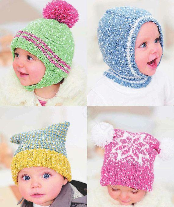 Knit Baby Hats Vintage Knitting Earflap Bonnet Helmet ...