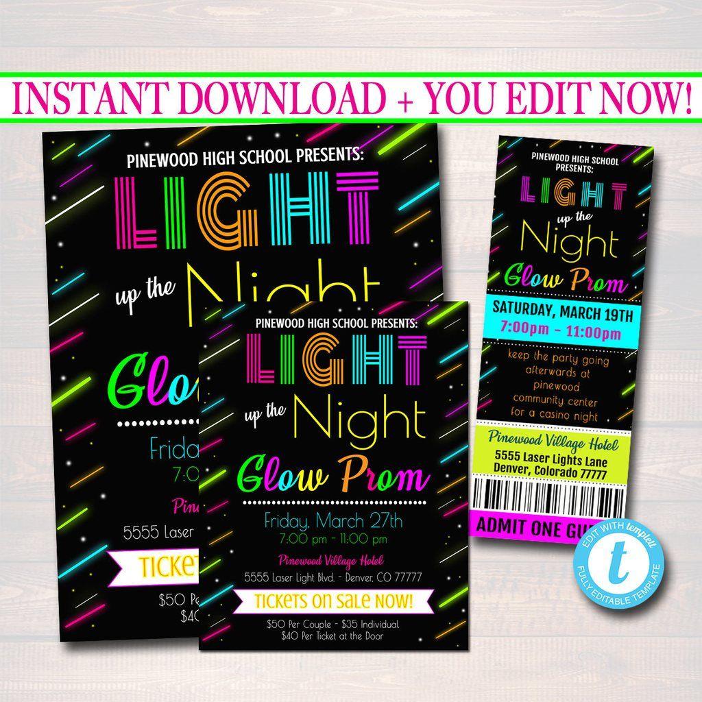 Prom Ticket Invite Flyer Set School Dance Invite Neon Glow In The