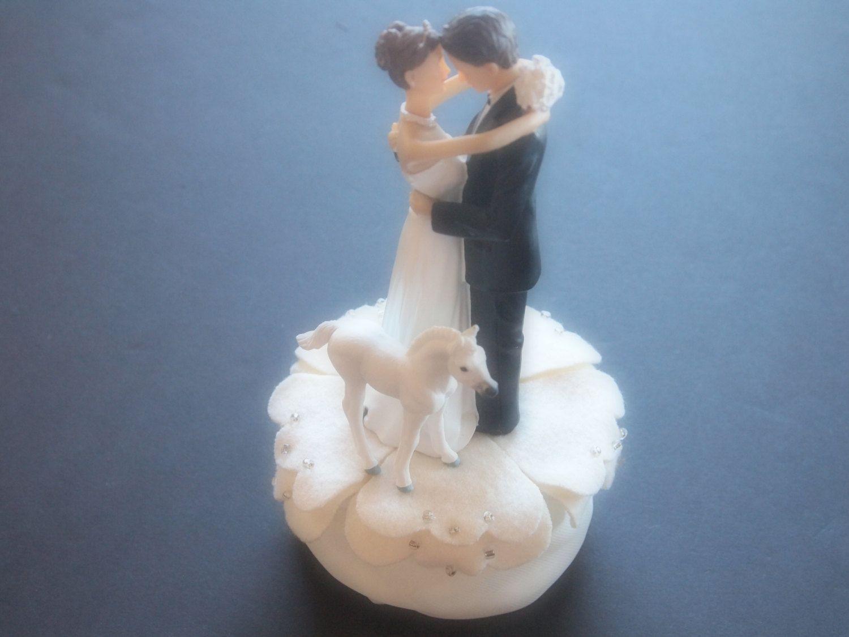 Cake topper wedding ivory bride and groom white horse