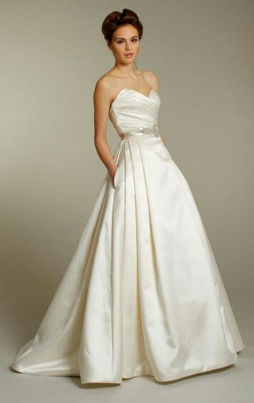 Strapless A-Line Wedding Gown In Rich, Buttery, Silk Satin, Featuring A Sweetheart Neckline With A Ruched Bodice, Gorgeous Pleating Along The Side Of Skirt, + Pockets; Fall 2012 Wedding Gowns****