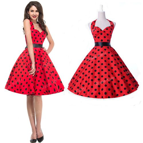 Fashion Women Ladies Summer Celeb Retro 50's Pinup Swing dress 60s ...