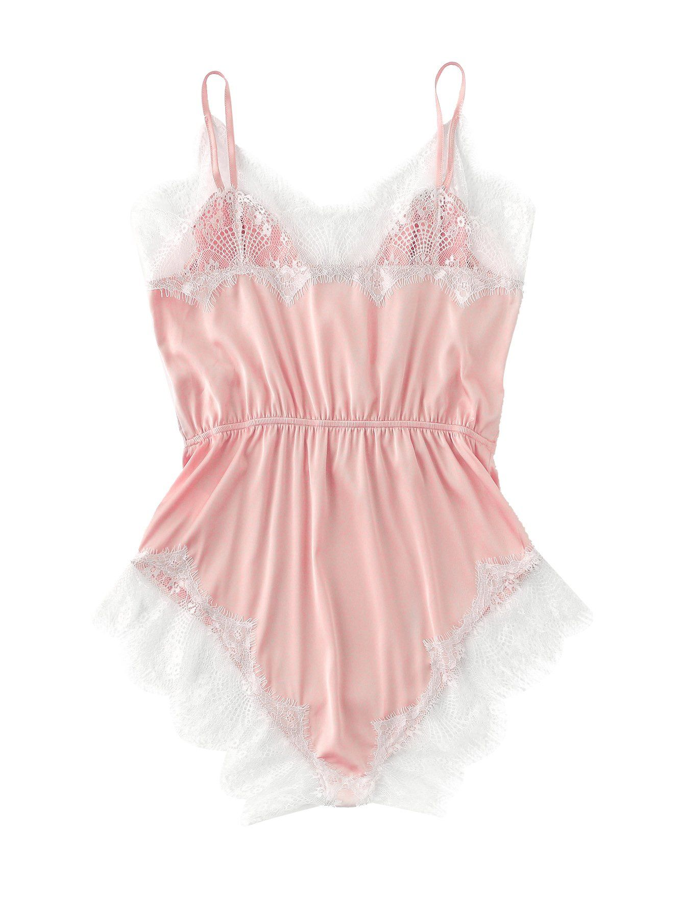 1fccfb4d05 SweatyRocks Womens V Neck Nightwear Lace Romper Pajamas Sexy Sleepwear  Romper Lingerie Pink XS    You can get more details by clicking on the  image.