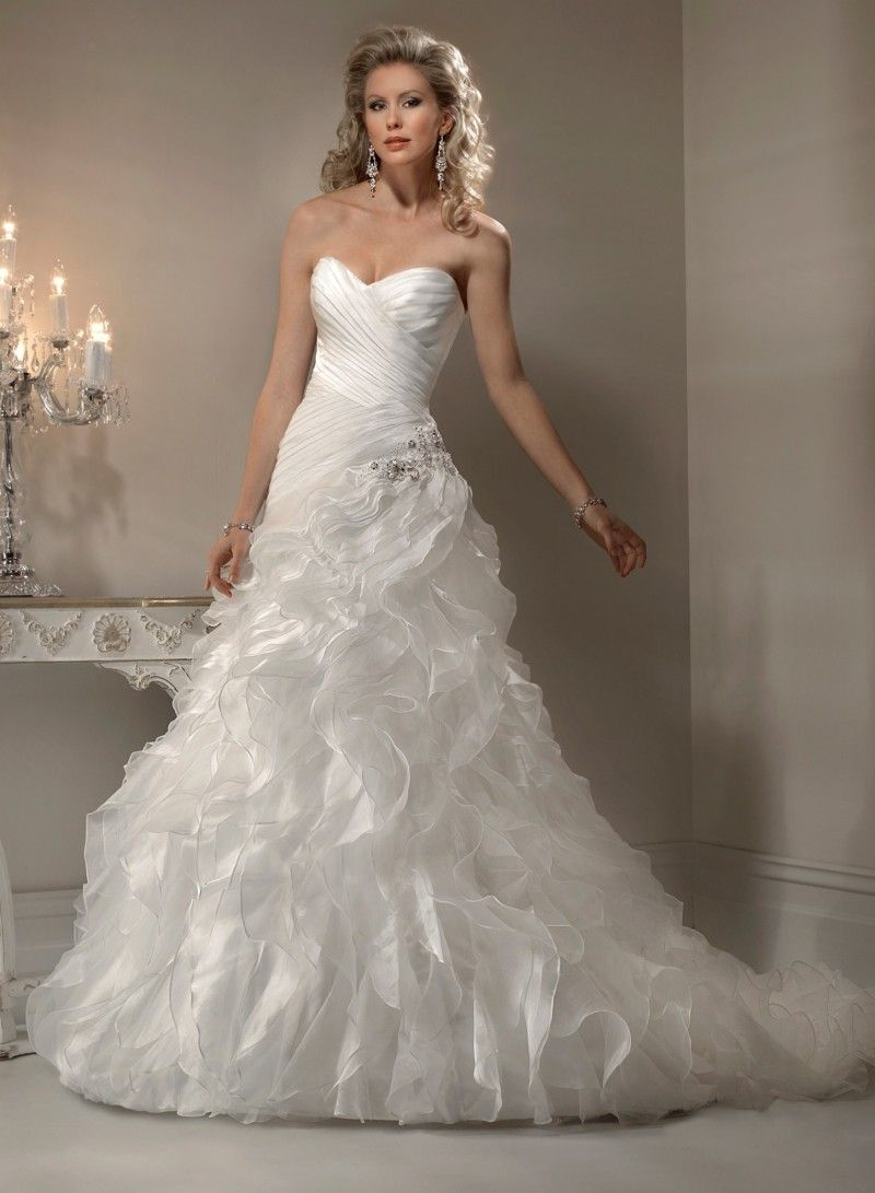 Organza Sweetheart A Line Wedding Dress | Lovely Linen Wedding Dress ...
