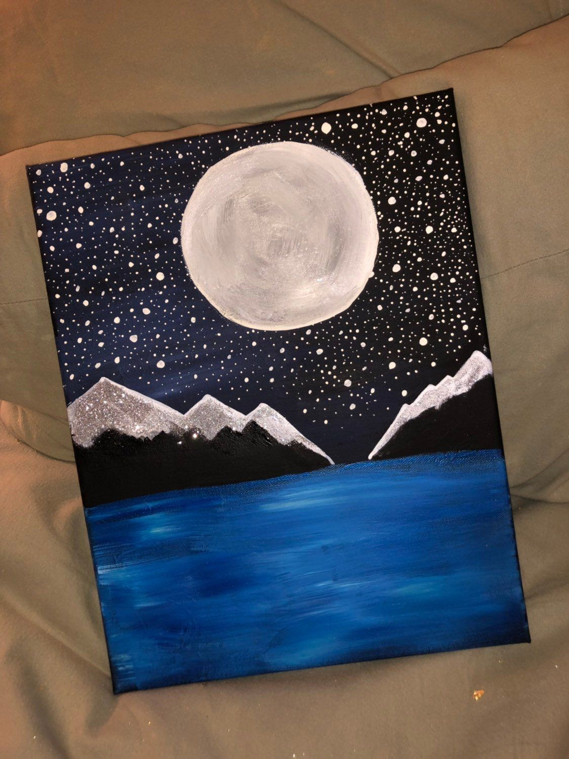 Starry Night In The Mountains Etsy Simple Canvas Paintings Mini Art Painting
