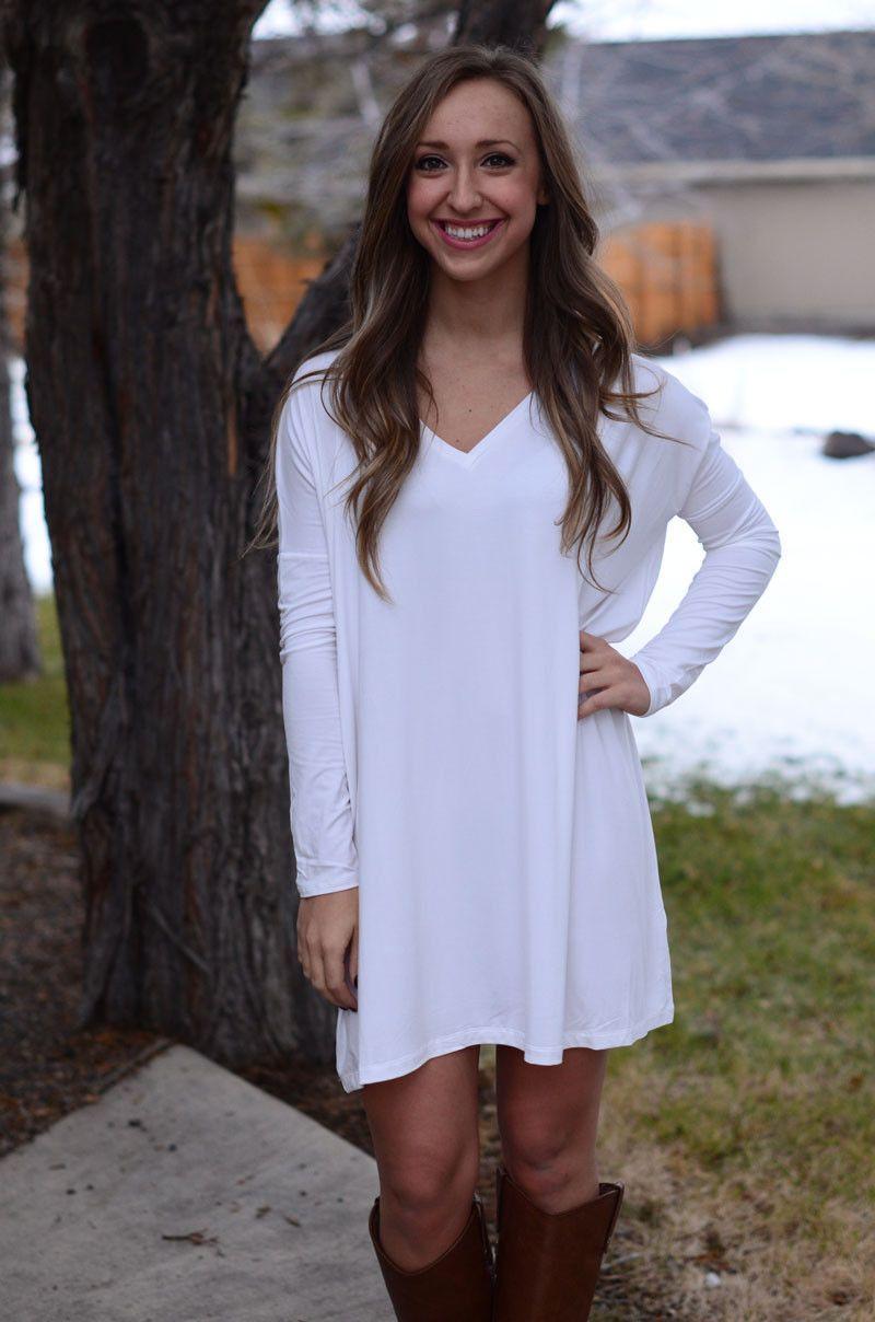 Long Sleeve Piko Dress - Ivory