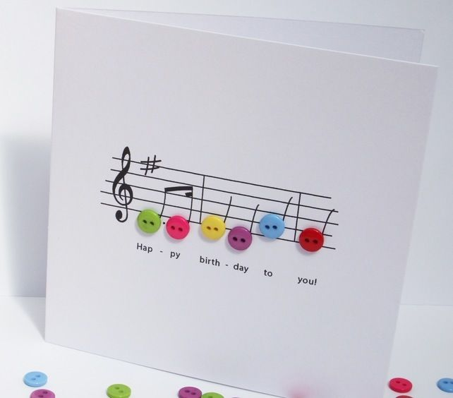 Birthday music birthday card birthday music birthdays and cards happy birthday music card birthday card with button notes paper handmade greeting card etsy uk bookmarktalkfo Images