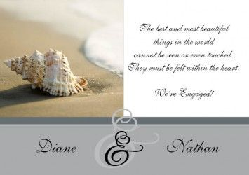 Seashell Beach Engagement Invitation Card in Silver - DreamDay Invitations
