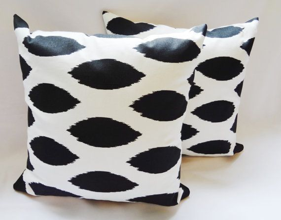 Two Pillow Covers Black/White Ikat Chipper by HomeLiving on Etsy