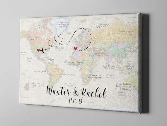 Canvas Guest Book World Map Wedding Guest Book Travel Themed