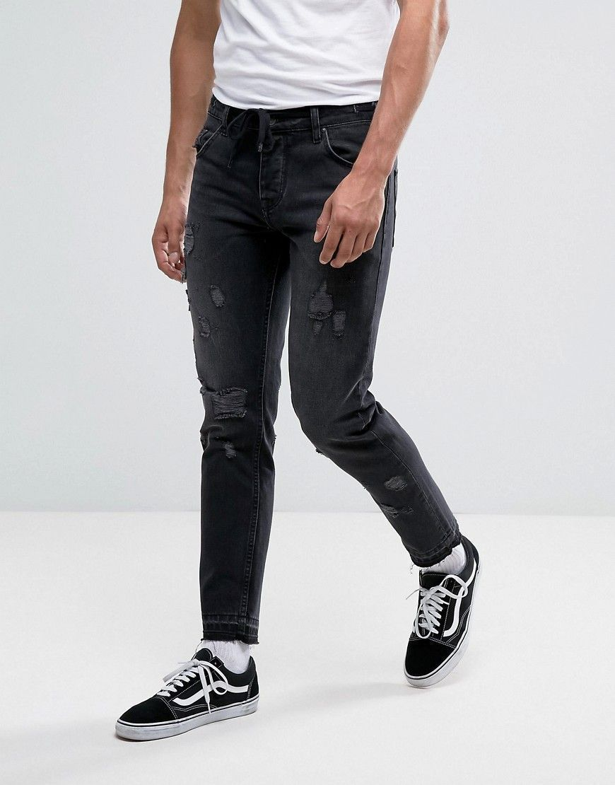 ASOS Slim Ankle Grazer Jeans In Washed Black With Distressing And Draw   whitejeansformen  slimjeansformendenim e2bb8a4e27bf