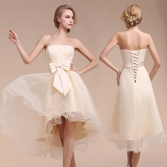 Lace Tea Length Dress With Butterfly Sash | Bridesmaid Dresses ...