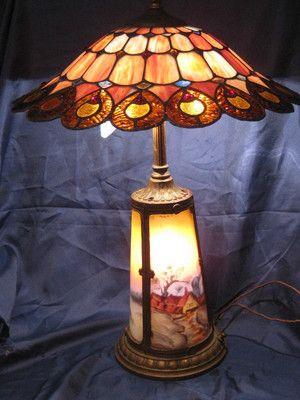 Vintage Signed Dale Tiffany Stained Glass Lamp Shade Antique