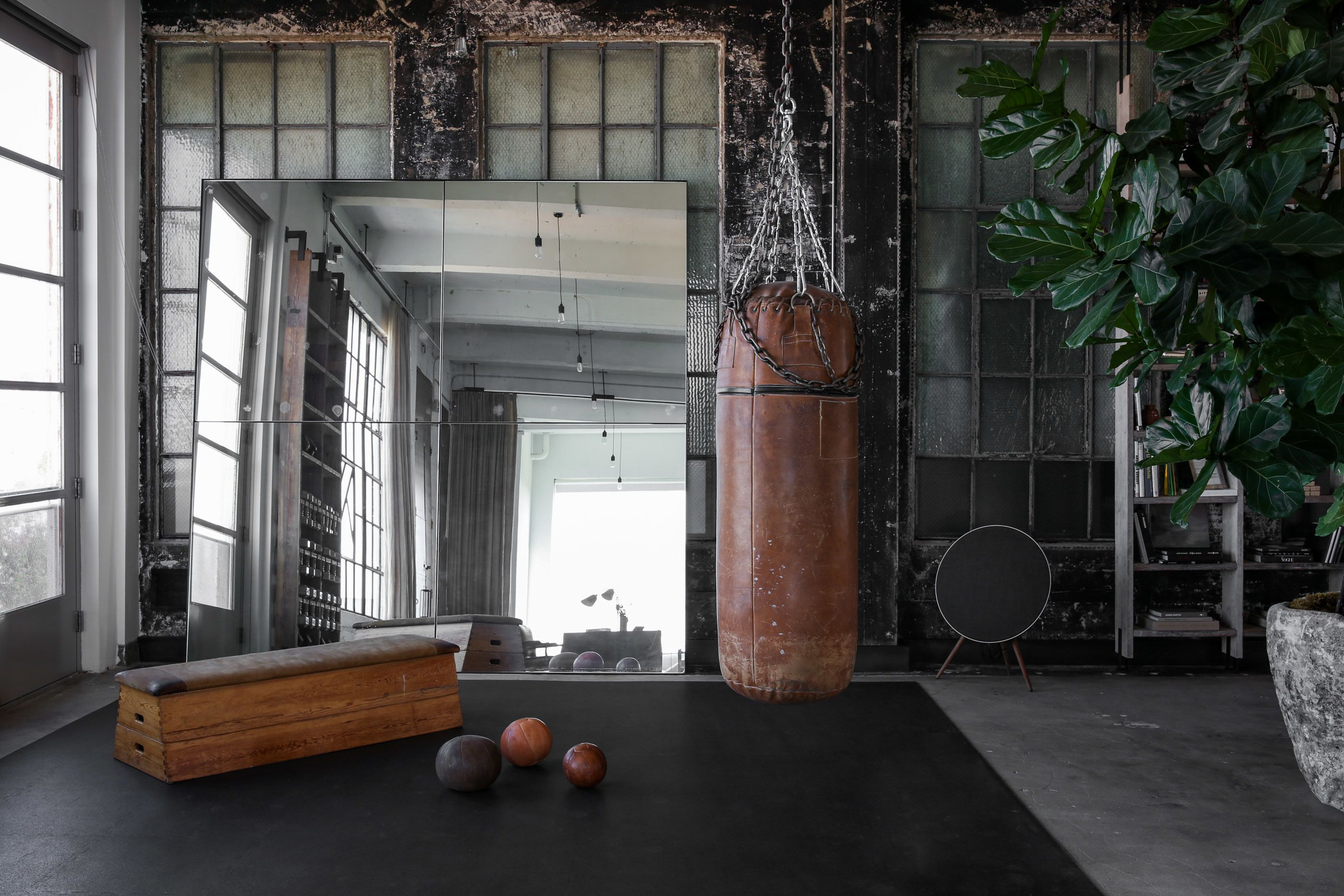 Photo 4 Of 13 In A 1920s Office Space Is Transformed Into A Polished At Home Gym Office Space Home Gym Design