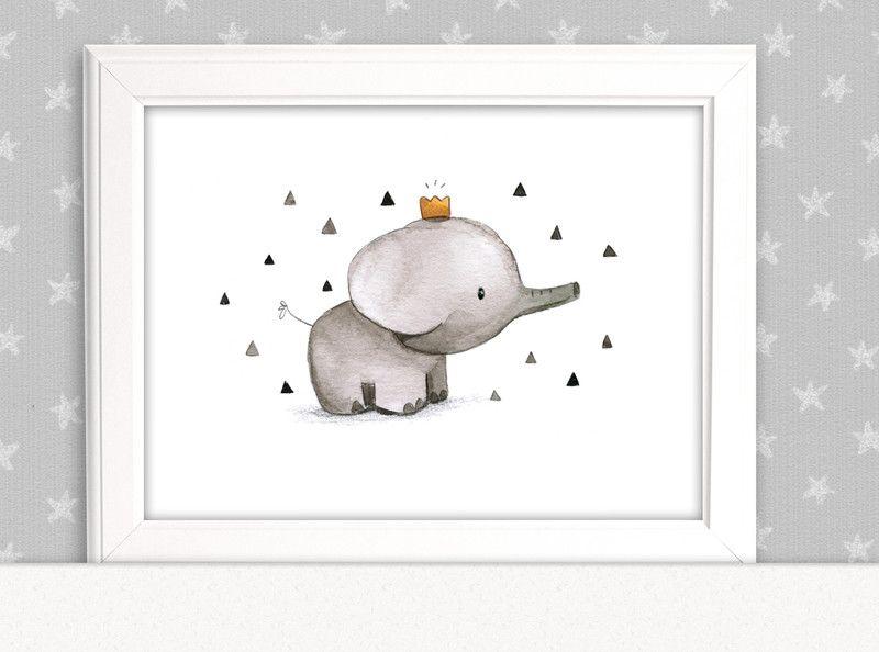 Bilder - Kinderbild Elefant mit Krone Kinderzimmer - ein Designerstück von pipapier bei DaWanda #decorateshop