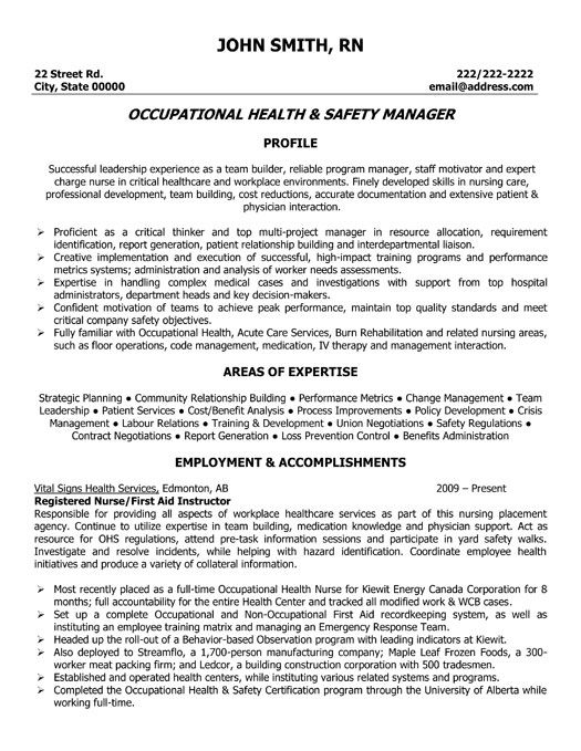 Click Here to Download this Occupational Health and Safety Manager - personal trainer resume template