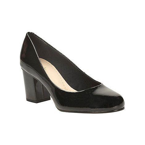 53b9ea7373be Clarks Black patent aldwych park heeled court shoe-